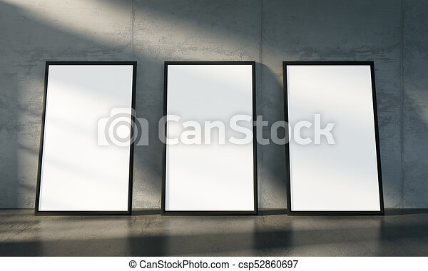 Concrete gallery room, three isolate poster mock up. Modern concrete ...