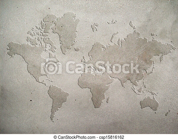 Concrete map world map carved on concrete wall concrete map csp15816162 gumiabroncs Gallery