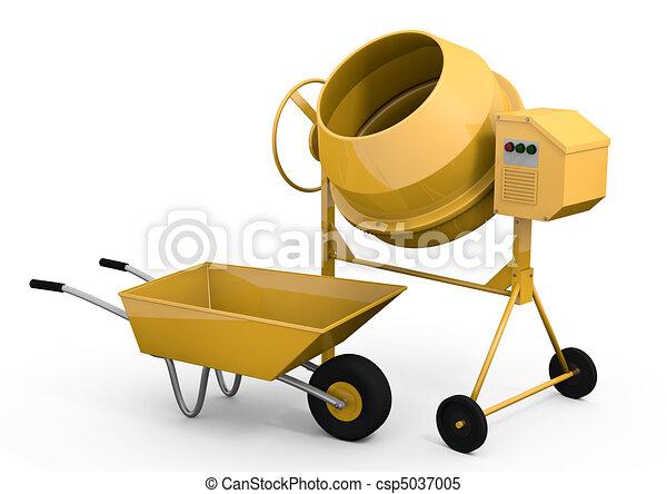 Concrete mixer and wheelbarrow - csp5037005