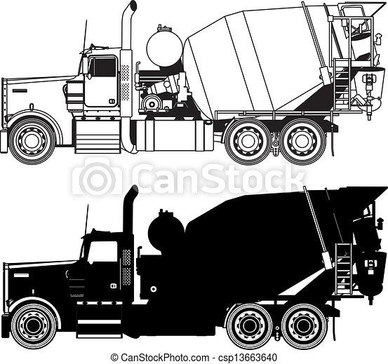 concrete mixer truck silhouettes se - csp13663640