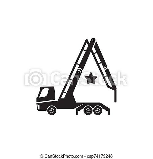 Concrete pump truck silhouettes logo. Looks like a letter A. - csp74173248