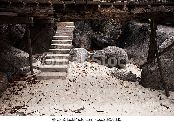 Concrete stairs on the beach - csp28250835