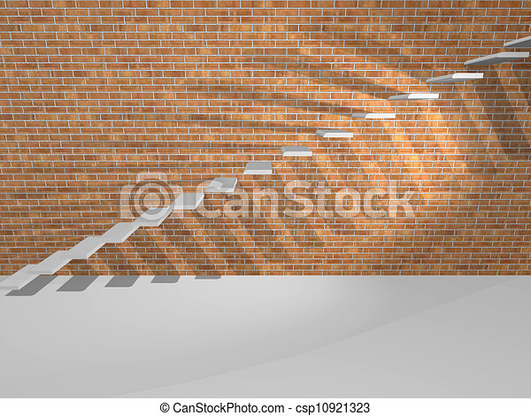 Concrete Steps Are On A Brick Wall Concrete Steps On A Brick Wall