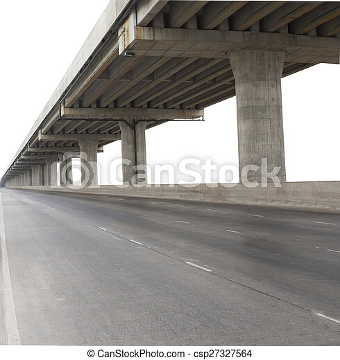 concrete structure of cement bridge isolated white background use for civi development and infra structure of government service - csp27327564