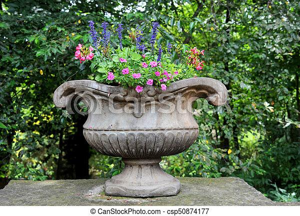 Concrete Urn of Flowers - csp50874177
