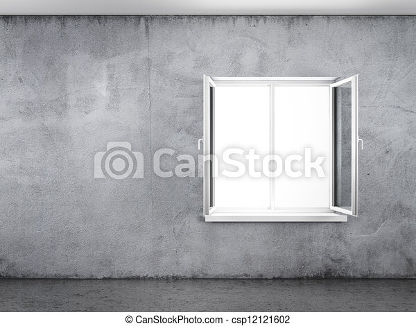 Concrete wall with window - csp12121602
