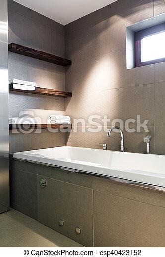 Concreto, cuarto de baño, moderno. Cuarto de baño, grande ...