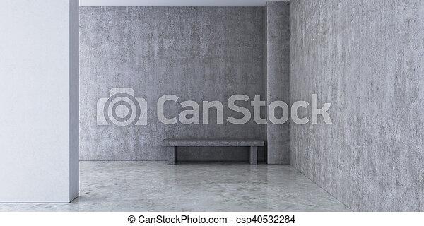 Habitación vacía con paredes de concreto y - csp40532284