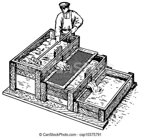 concreto, trabalhador, preparar - csp10375791