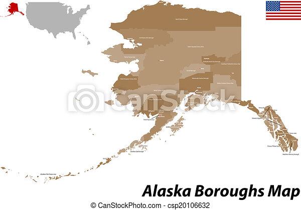 El mapa del condado de Alaska - csp20106632