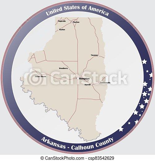 condado, mapa de arkansas, calhoun - csp83542629
