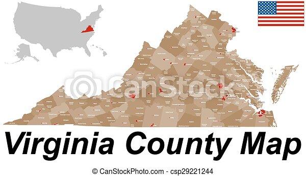 El mapa del condado de Virginia - csp29221244