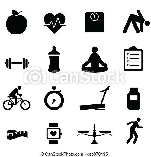 condicão física, dieta, ícones - csp8704351