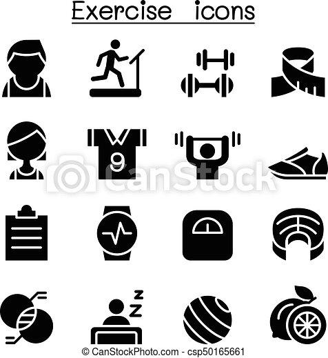 &, condicão física, jogo, exercício, ícone - csp50165661