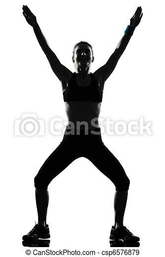 condicão física, malhação, mulher, postura - csp6576879