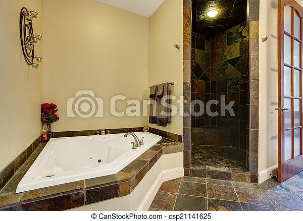 Condición, cuarto de baño, moderno, ducha, interior, azulejo ...