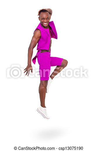 Hombre en forma saltando de alegría - csp13075190