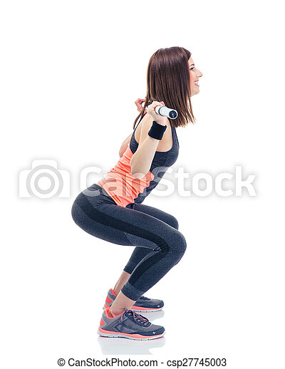 La mujer adecuada haciendo sentadillas con Barbilla - csp27745003