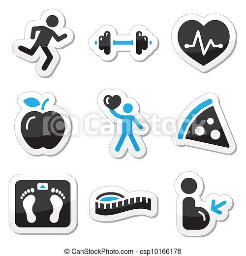 condición física, conjunto, salud, iconos - csp10166178