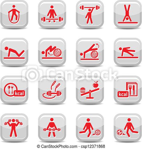 Fitness y iconos deportivos - csp12371868