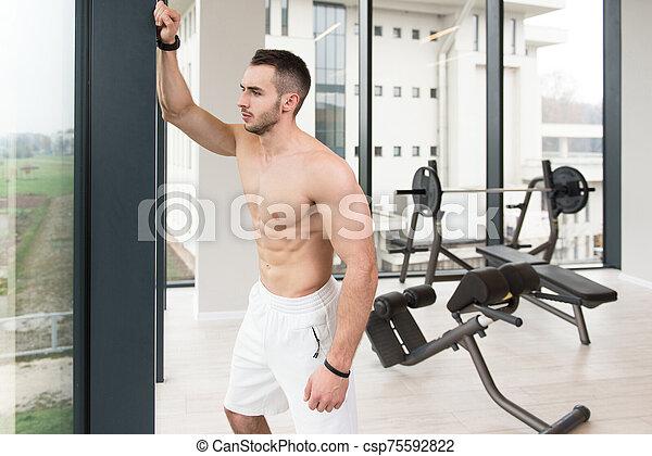 condición física, hombre, muscular, retrato - csp75592822