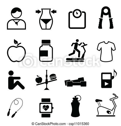 Salud, aptitud y iconos dietéticos - csp11015360