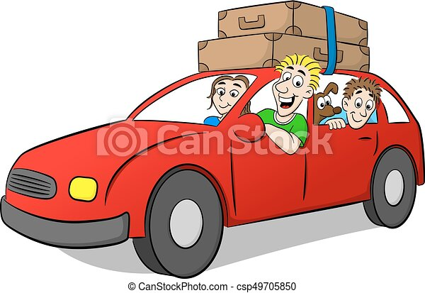 La familia Cartoon conduciendo de vacaciones - csp49705850