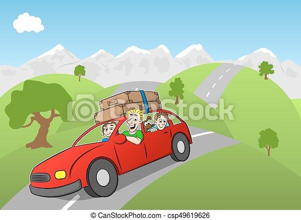 La familia Cartoon conduciendo de vacaciones - csp49619626