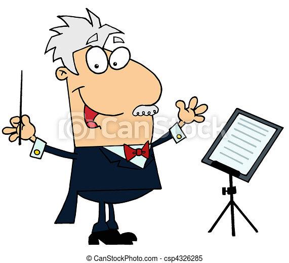 caucasian cartoon music conductor man rh canstockphoto com train conductor clipart music conductor clipart