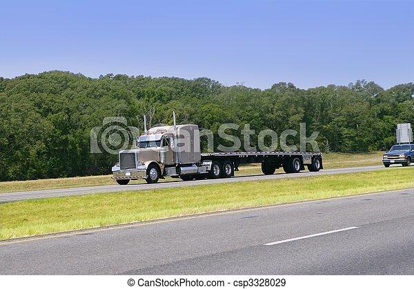 conduite, américain, forêt verte, camion, route - csp3328029