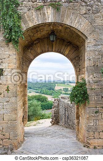 condurre, campagna, toscano, italia, medievale, porta - csp36321087