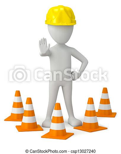 cone., pessoa, pequeno, helmet-traffic, 3d - csp13027240