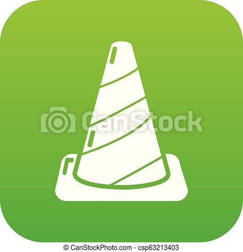 Cone road icon green vector - csp63213403