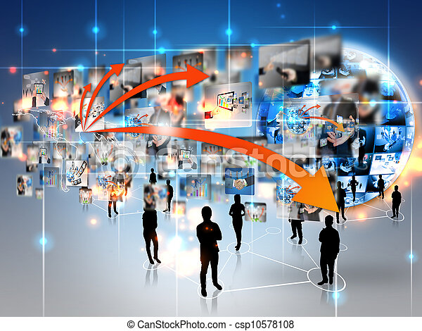 conectado, equipe negócio, mundo - csp10578108