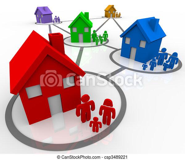 conectado, famílias, vizinhanças - csp3489221