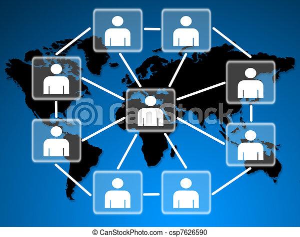 conectado, social, junto, network., modelos, human - csp7626590