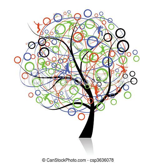 conectando, povos, árvore, teia - csp3636078