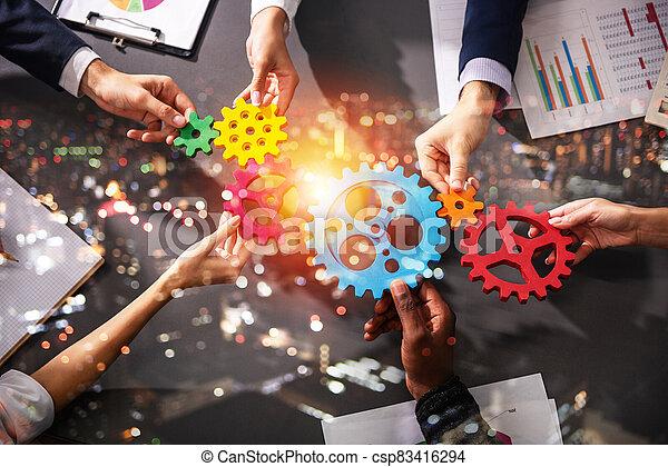 conectar, trabajo en equipo del equipo, integración, pedazos, empresa / negocio, gears., sociedad, concepto - csp83416294