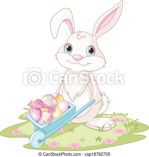 Conejo de Pascua con carretilla - csp18762705