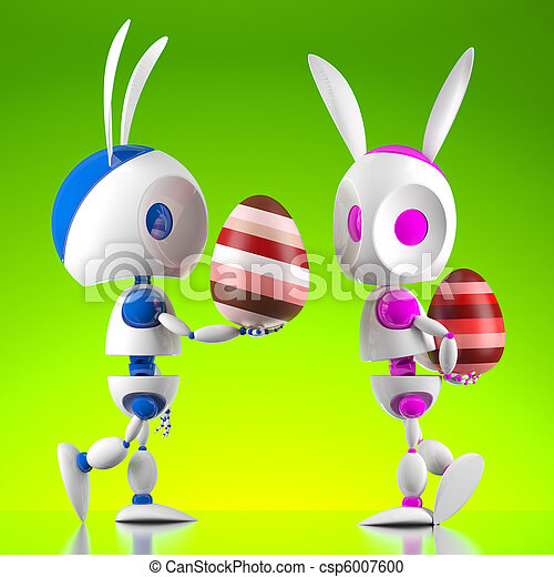 Robots de conejos de Pascua - csp6007600