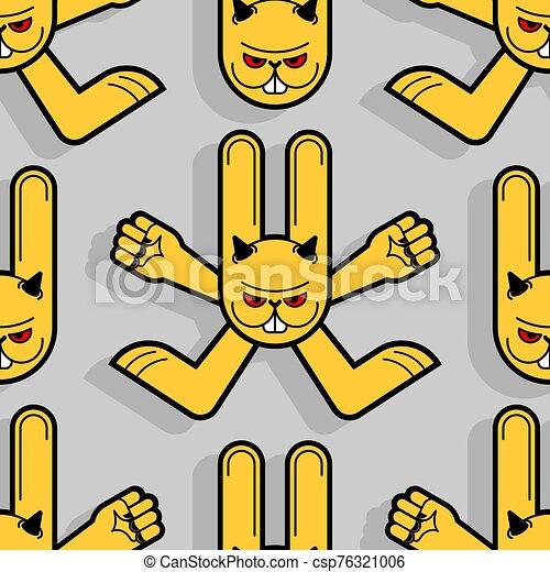 conejito, liebre, loco, enojado, ilustración, fondo., conejo, animal, vector, enojado, diablo, texture., seamless., patrón, ornament. - csp76321006