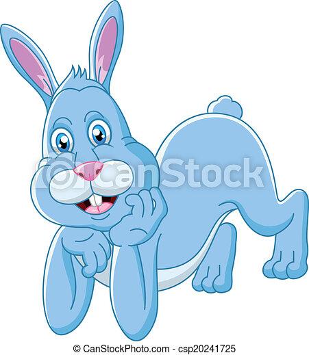 Lindo conejo de dibujos animados acostado - csp20241725