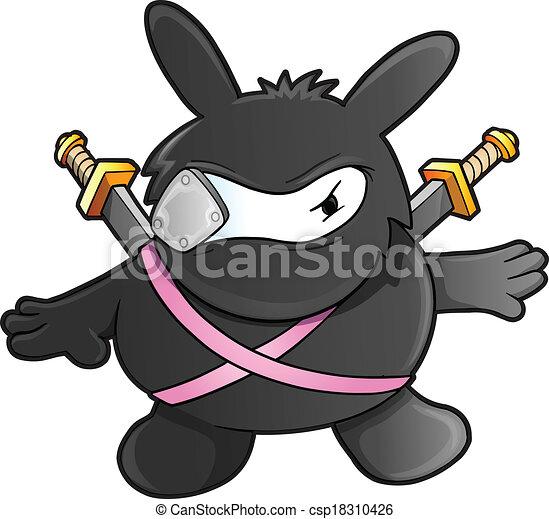 Ninja Warrior conejito vector - csp18310426