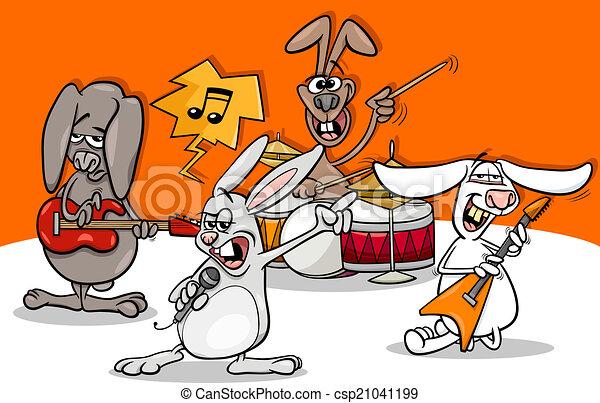 conejos, música rock, caricatura, banda - csp21041199
