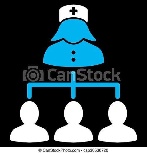 conexões, enfermeira, pacientes, ícone - csp30538728