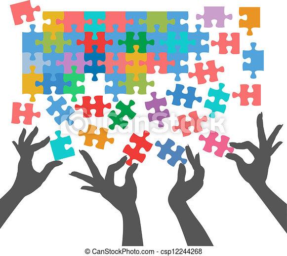 conexões, quebra-cabeça, juntar, achar, pessoas - csp12244268