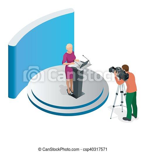conférence, affaires femme, donner, présentation, illustration, vecteur, tribune, orateur, setting., réunion, ou, parler - csp40317571
