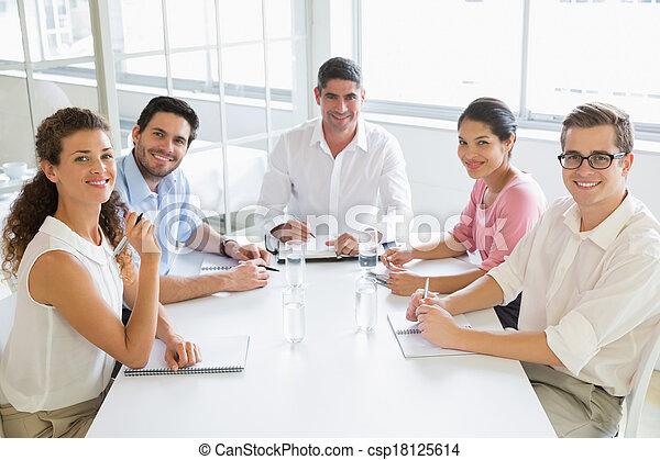 conférence, affaires gens, sourire, table - csp18125614