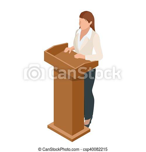 conférence, femme, illustration., business, donner, présentation, vecteur, tribune, orateur, setting., réunion, ou, parler - csp40082215