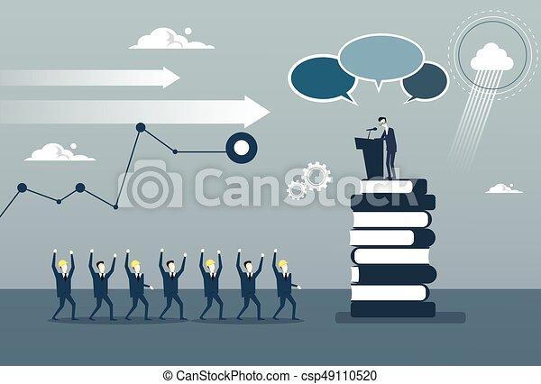 conférence, groupe, business, mener, businesspeople, frint, gai, parole, tribune, réunion, séminaire, homme - csp49110520
